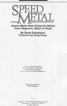 Dave Celentano - Speed Metal - Heavy Metal, Neo-Classical Styles From Paganini, Bach To Rock